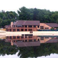 Main Lodge and Beach by lake wallenpaupack pa